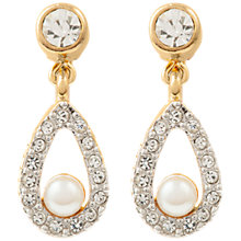 Buy Susan Caplan Vintage Nina Ricci 22ct Gold Plated Faux Pearl Swarovski Crystal Clip-On Drop Earrings, Gold Online at johnlewis.com