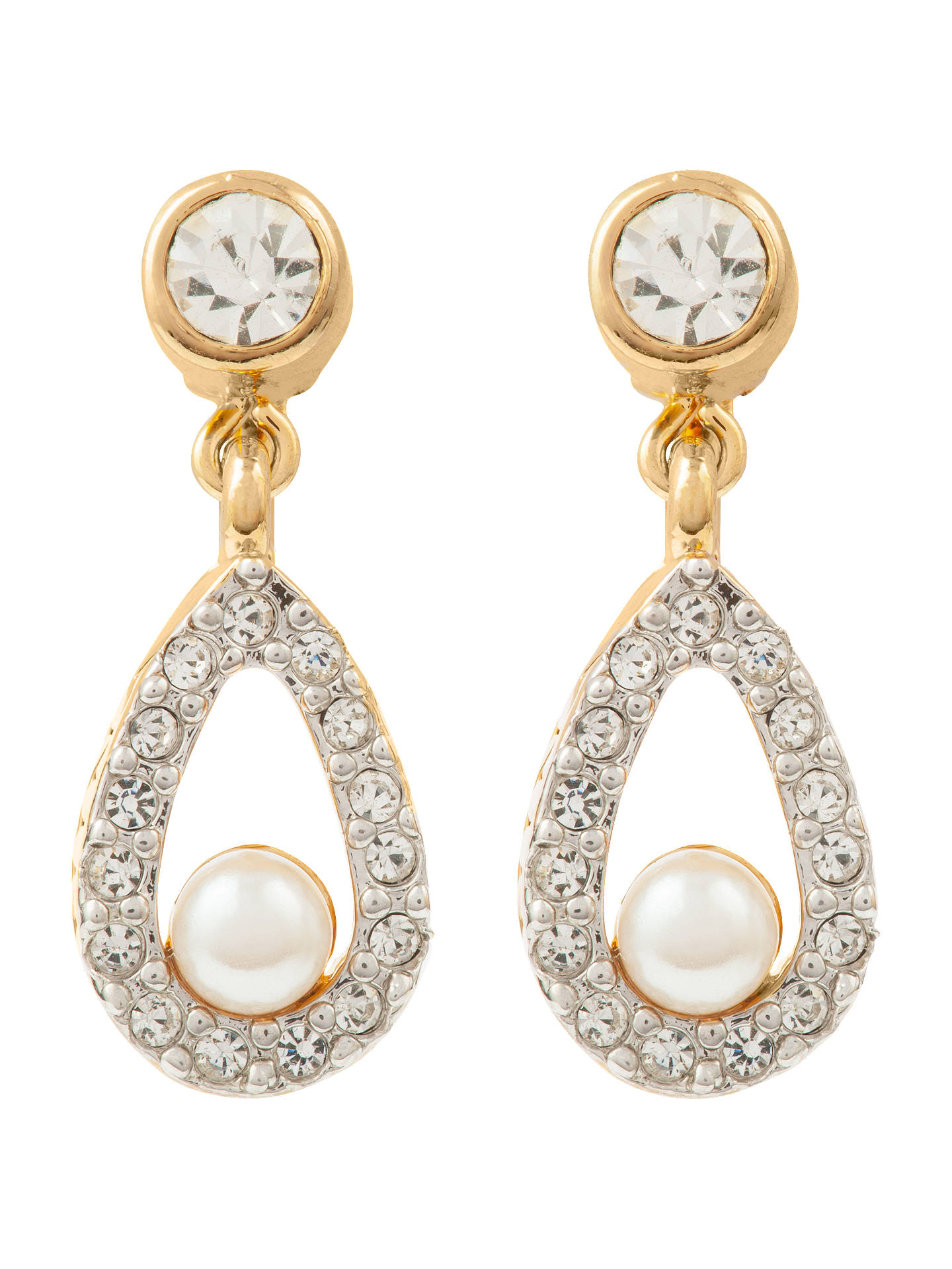 48ed4014a Susan Caplan Vintage Nina Ricci 22ct Gold Plated Faux Pearl Swarovski  Crystal Clip-On Drop Earrings, Gold