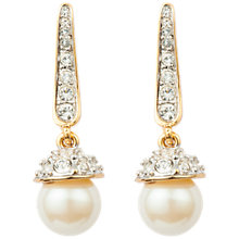 Buy Susan Caplan Vintage 1980s 22ct Gold Plated Faux Pearl and Swarovski Crystal Drop Earrings, Gold Online at johnlewis.com