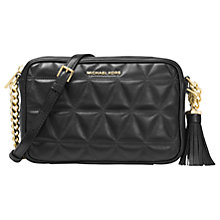 Buy MICHAEL Michael Kors Ginny Quilted Leather Cross Body Camera Bag, Black Online at johnlewis.com