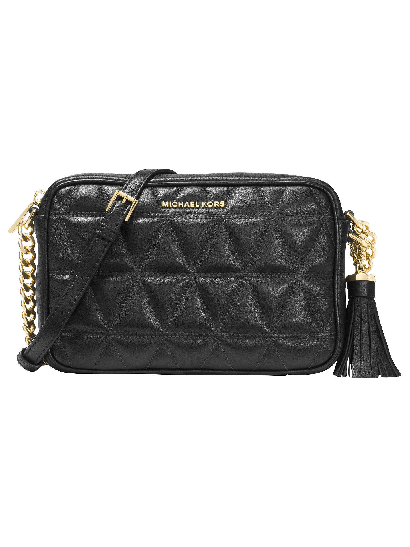 9f0f58753 Buy MICHAEL Michael Kors Ginny Quilted Leather Cross Body Camera Bag, Black  Online at johnlewis