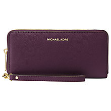 Buy MICHAEL Michael Kors Jet Set Travel Continental Leather Zip Around Purse Online at johnlewis.com