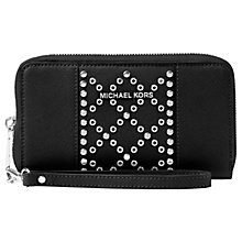 Buy MICHAEL Michael Kors Mercer Leather Stud Multi-Function Purse, Black Online at johnlewis.com