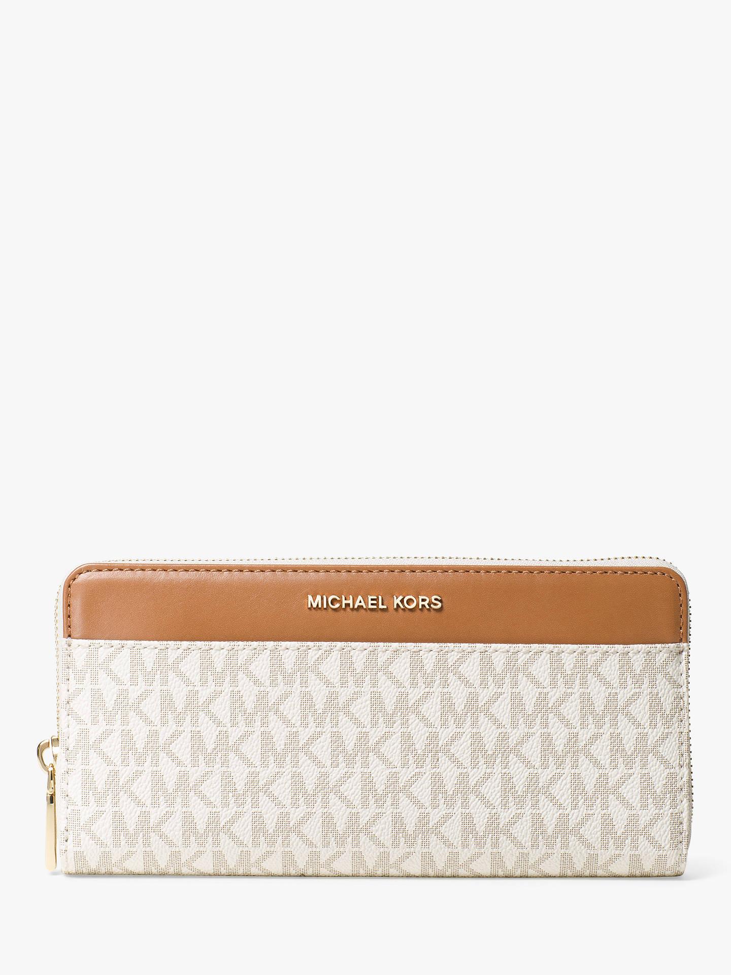 ec032c54456c Buy MICHAEL Michael Kors Jet Set Travel Leather Large Print Purse, Vanilla  Online at johnlewis ...