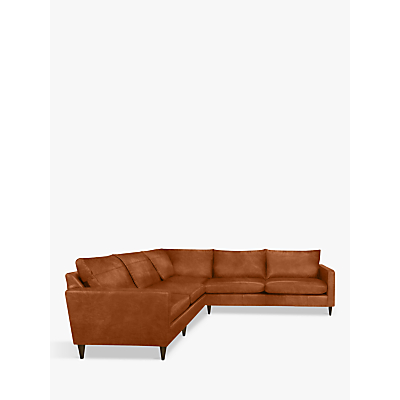 John Lewis & Partners Bailey Leather Corner Sofa, Dark Leg