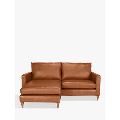 John Lewis Bailey Leather LHF Chaise End Sofa, Dark Leg
