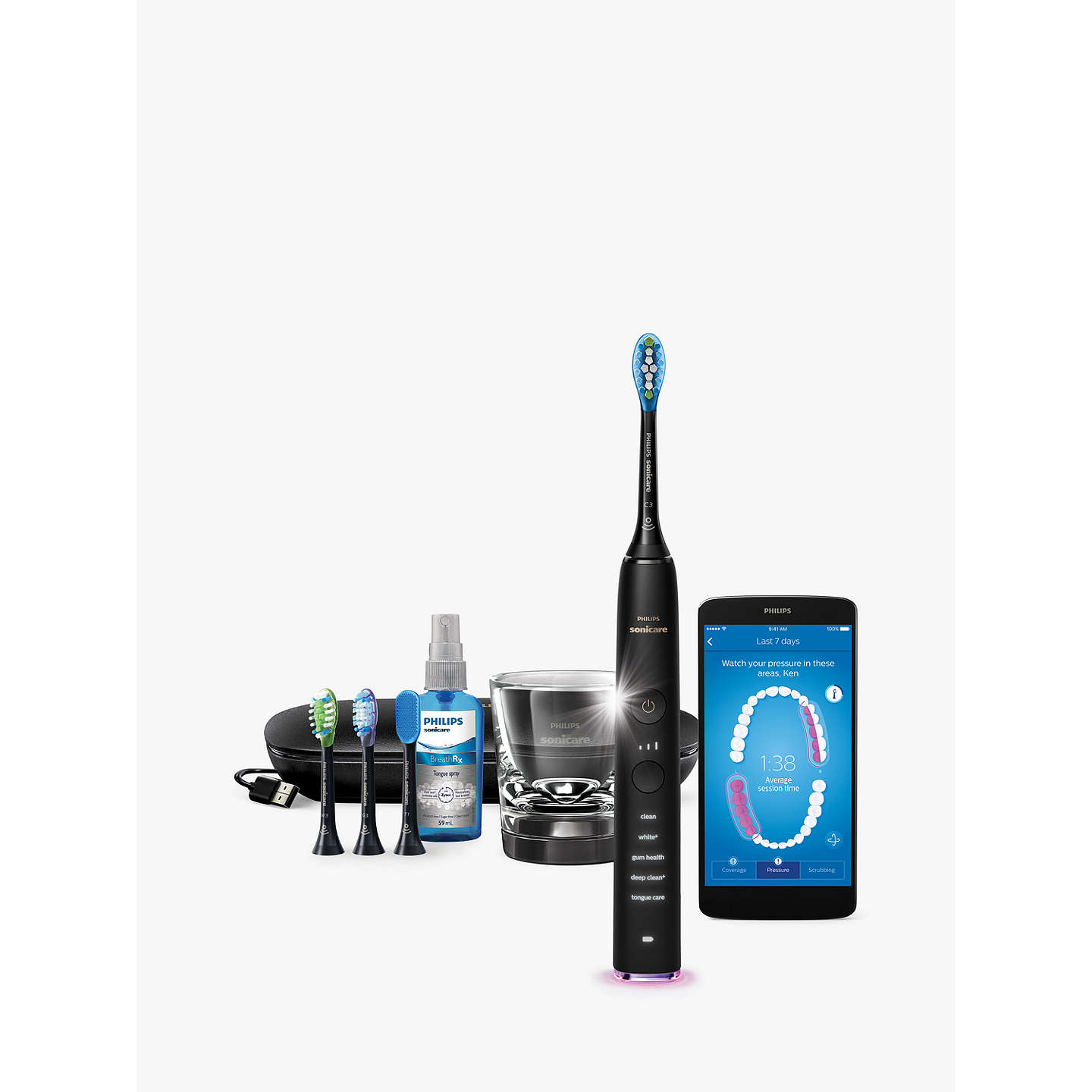 BuyPhilips HX9924/14 DiamondClean Smart Sonic Electric Toothbrush with App, Black Online at johnlewis.com
