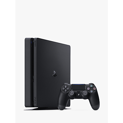 Image of Sony PlayStation 4 Slim Console with DUALSHOCK 4 Controller, 500GB, Jet Black