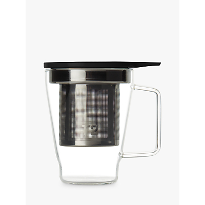 Product photo of T2 glass tea mug with infuser black clear 400ml