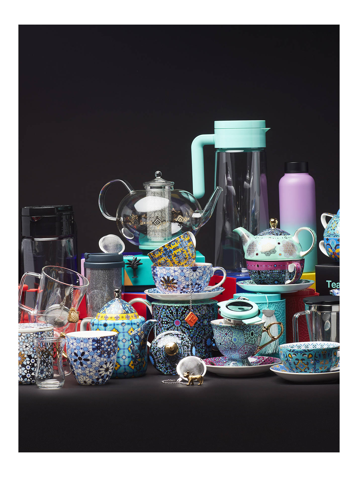 Buy T2 Glass Tea Mug With Infuser, Black/Clear, 400ml Online at johnlewis.com