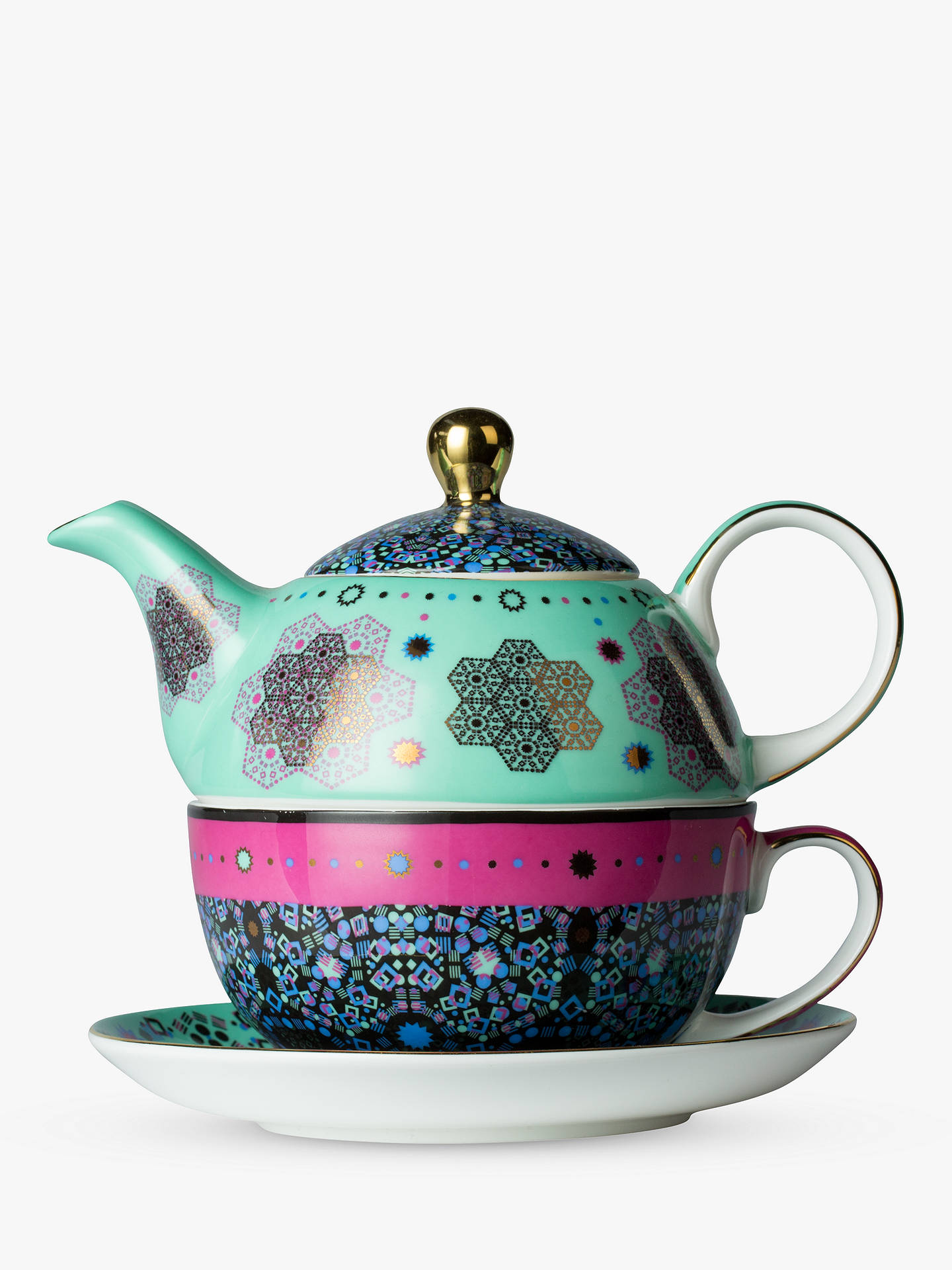 BuyT2 Moroccan Tealeidoscope Teapot For One, Aqua/Multi Online at johnlewis.com