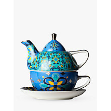 Buy T2 Marigold Magic Teapot, Cup and Saucer For One, Aqua/Multi, 300ml Online at johnlewis.com