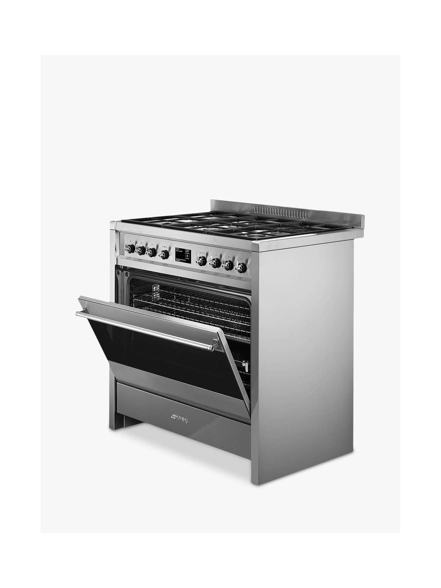 BuySmeg A1-9 Opera Range Cooker with Gas Hob, Stainless Steel Online at johnlewis.com