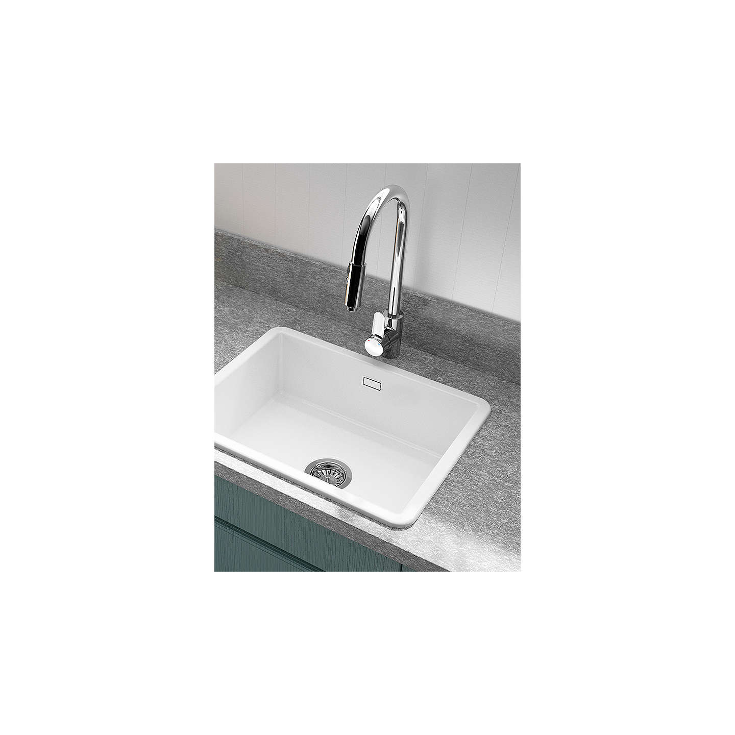 Clearwater Metro Large Single Bowl Ceramic Kitchen Sink, White at ...