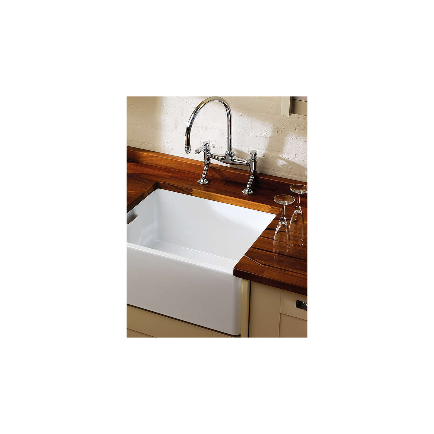 Clearwater Vintage Belfast Single Bowl Ceramic Kitchen Sink, White ...
