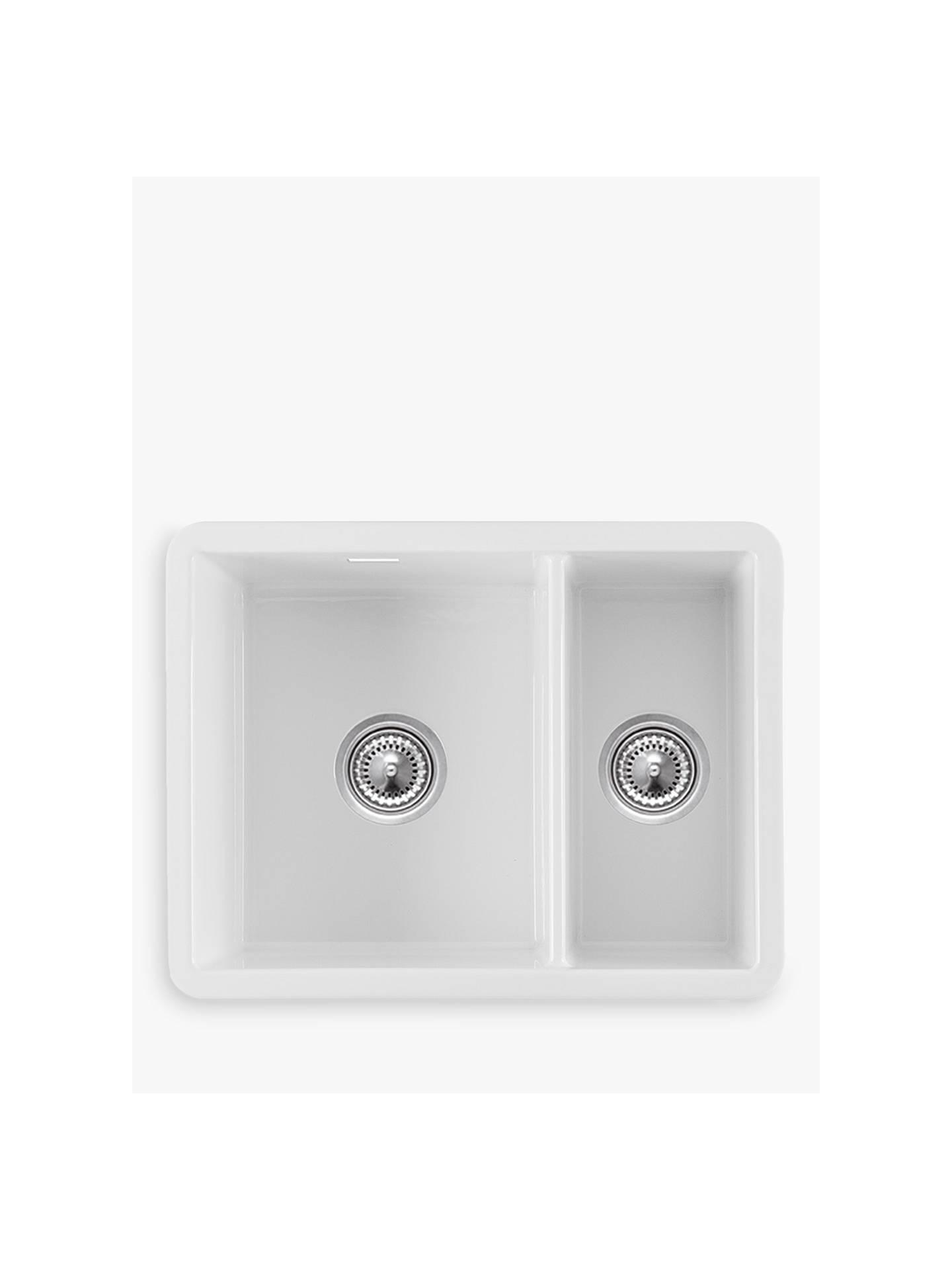 Buyclearwater metro 1 5 bowl ceramic kitchen sink white online at johnlewis com