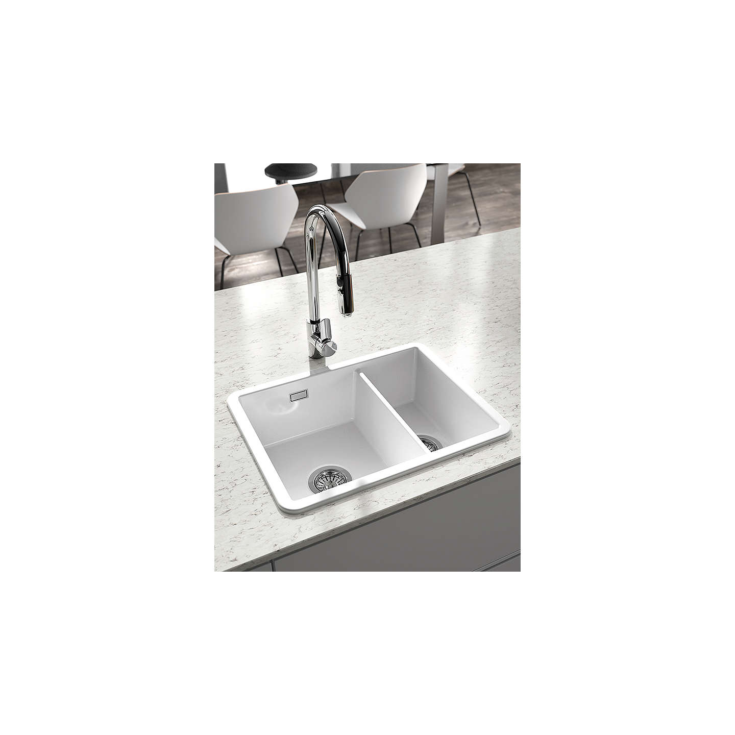 Clearwater Metro 1.5 Bowl Ceramic Kitchen Sink, White at John Lewis