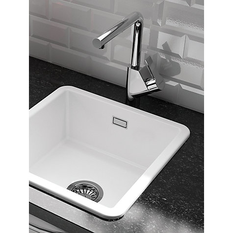 Buy Clearwater Metro Small Single Bowl Ceramic Kitchen Sink, White ...