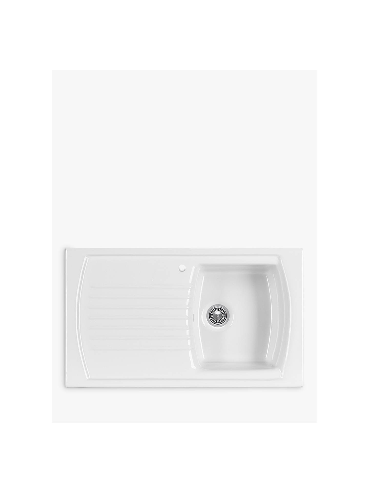 Clearwater Sonnet Inset Single Bowl Ceramic Kitchen Sink, White at ...
