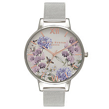 Buy Olivia Burton OB16PL34 Women's Parlour Mesh Bracelet Strap Watch, Silver/Multi Online at johnlewis.com