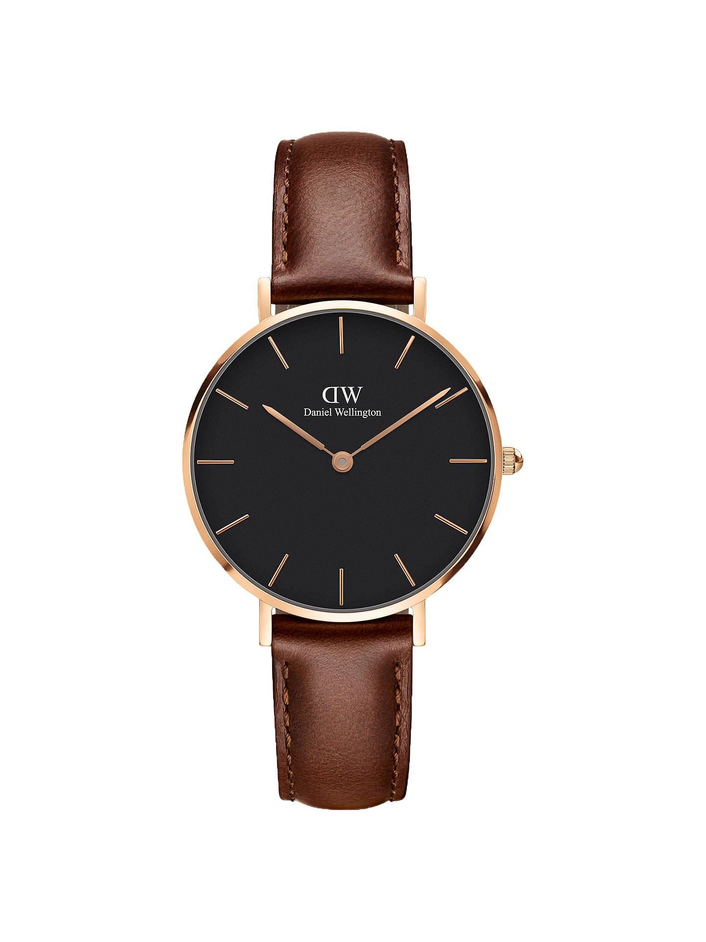392576f1b Buy Daniel Wellington DW00100169 Women's Petite Leather Strap Watch, Brown/ Black Online at johnlewis