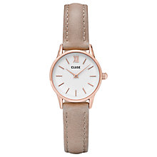 Buy CLUSE CL50027 La Vedette Rose Gold Leather Strap Watch, Beige/White Online at johnlewis.com