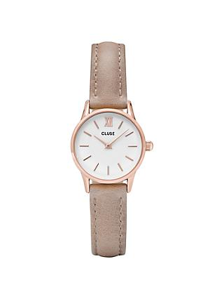 CLUSE La Vedette Rose Gold Leather Strap Watch, Beige/White CL50027