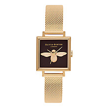 Buy Olivia Burton OB16AM90 Animal Motifs Square Bracelet Strap Watch, Gold/Black Online at johnlewis.com