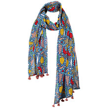 Buy Fat Face Children's Woodland Square Scarf, Blue Online at johnlewis.com