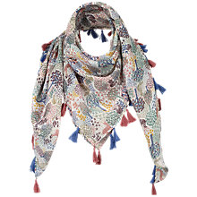 Buy Fat Face Children's Leaf Print Square Scarf, Navy Online at johnlewis.com