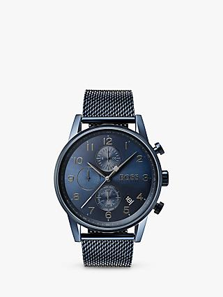 HUGO BOSS 1513538 Men's Navigator Chronograph Date Bracelet Strap Watch, Navy
