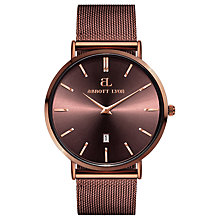 Buy Abbott Lyon Women's Stellar 40 Date Mesh Bracelet Strap Watch, Mocha Online at johnlewis.com