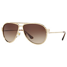 Buy Versace VE2171B Studded Aviator Sunglasses, Gold/Brown Gradient Online at johnlewis.com