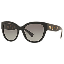 Buy Versace VE4314 Embellished Cat's Eye Sunglasses, Black/Grey Gradient Online at johnlewis.com