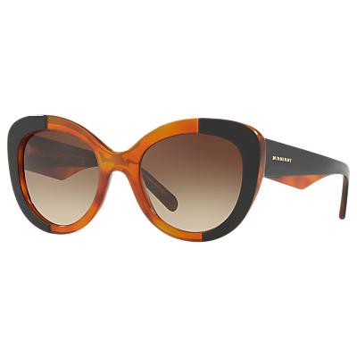 Burberry BE4253 Round Lens Sunglasses, Brown/Black