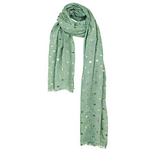 Buy Fat Face Heart Print Scarf, Green Online at johnlewis.com