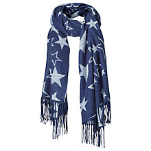 Buy Fat Face Suzie Star Jacquard Scarf, Navy Online at johnlewis.com