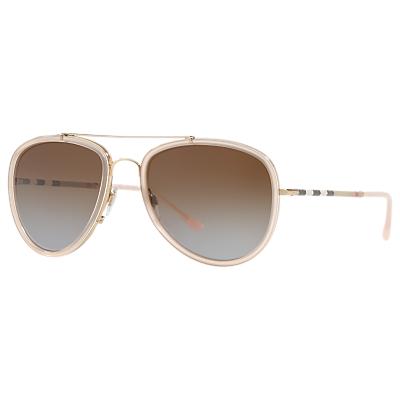 Burberry BE3090Q Aviator Sunglasses, Pink/Brown