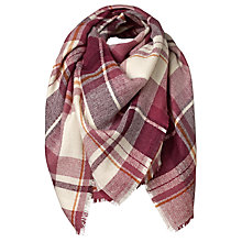 Buy Fat Face Bella Check Scarf, Plum/Multi Online at johnlewis.com