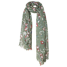 Buy Fat Face Megan Floral Scarf, Khaki Online at johnlewis.com