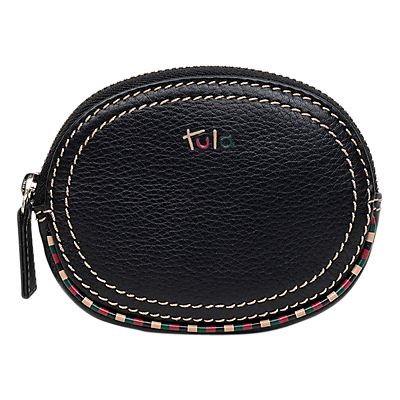 Tula Mallory Leather Small Zip Coin Purse, Black