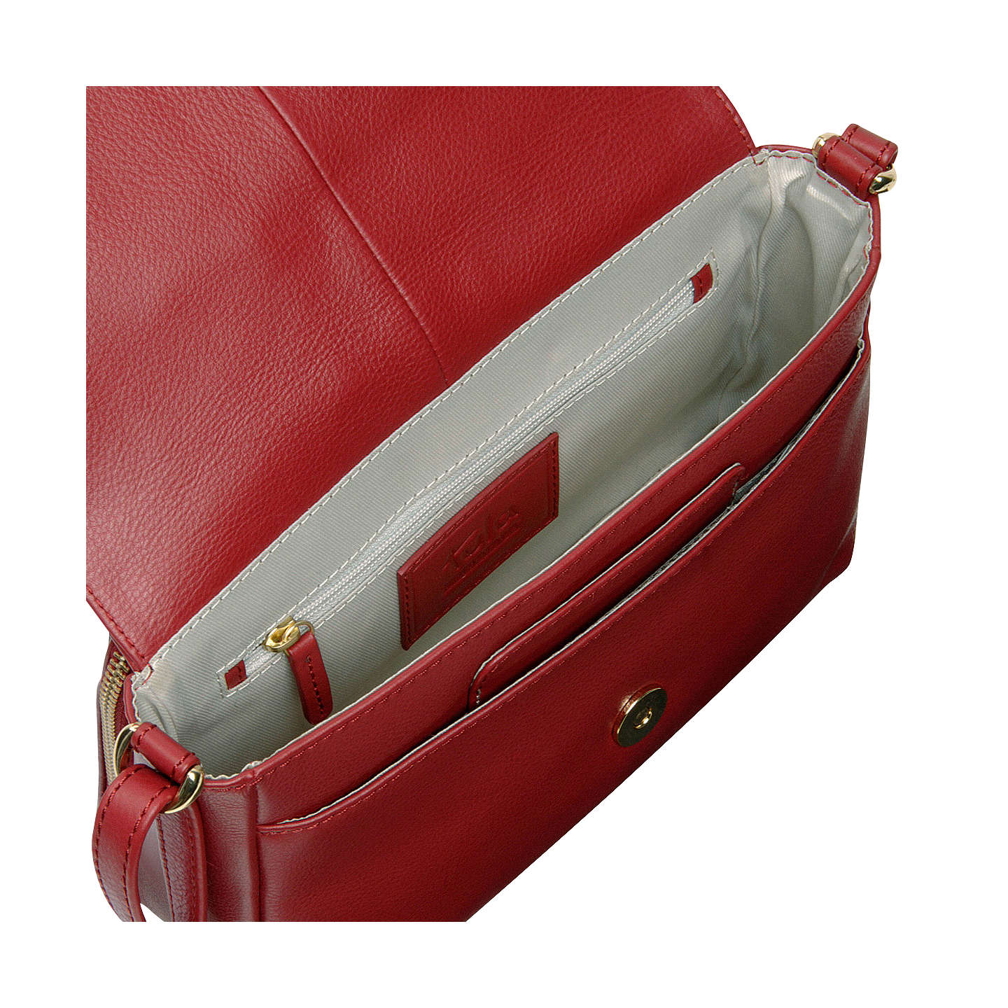 BuyTula Nappa Originals Leather Small Flapover Cross Body Bag, Scarlet Online at johnlewis.com