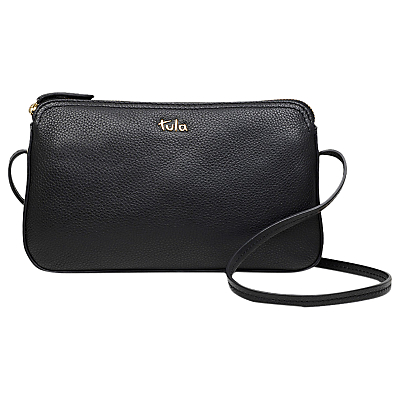 Tula Originals Pebbled Leather Cross Body Zip Bag, Pebble Black