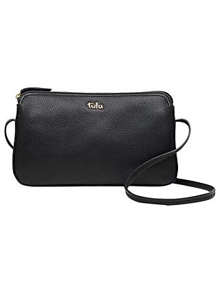 Tula Originals Pebbled Leather Cross Body Zip Bag Pebble Black