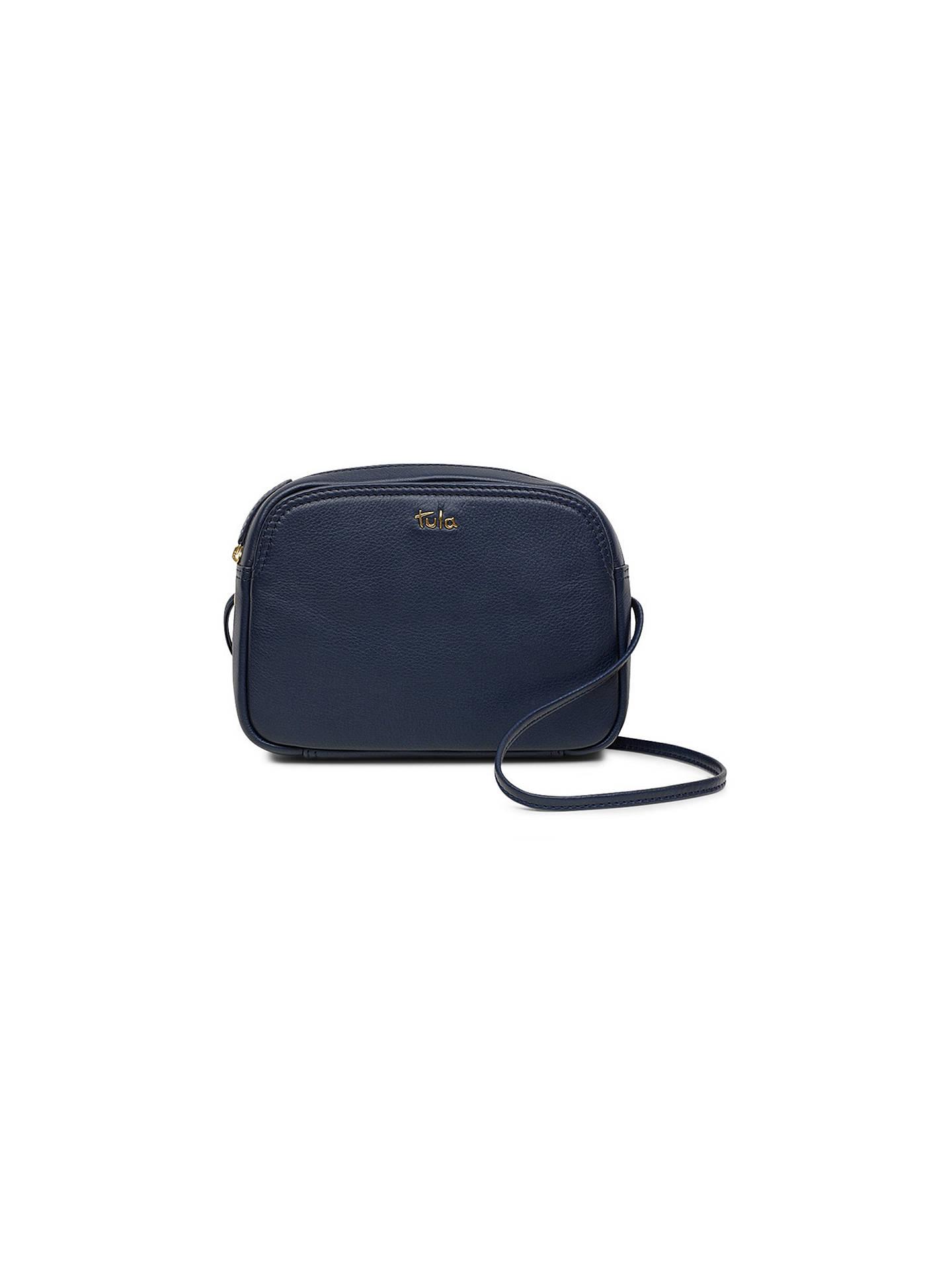 BuyTula Nappa Originals Small Zip Cross Body Bag, Dark Blue Online at johnlewis.com ...