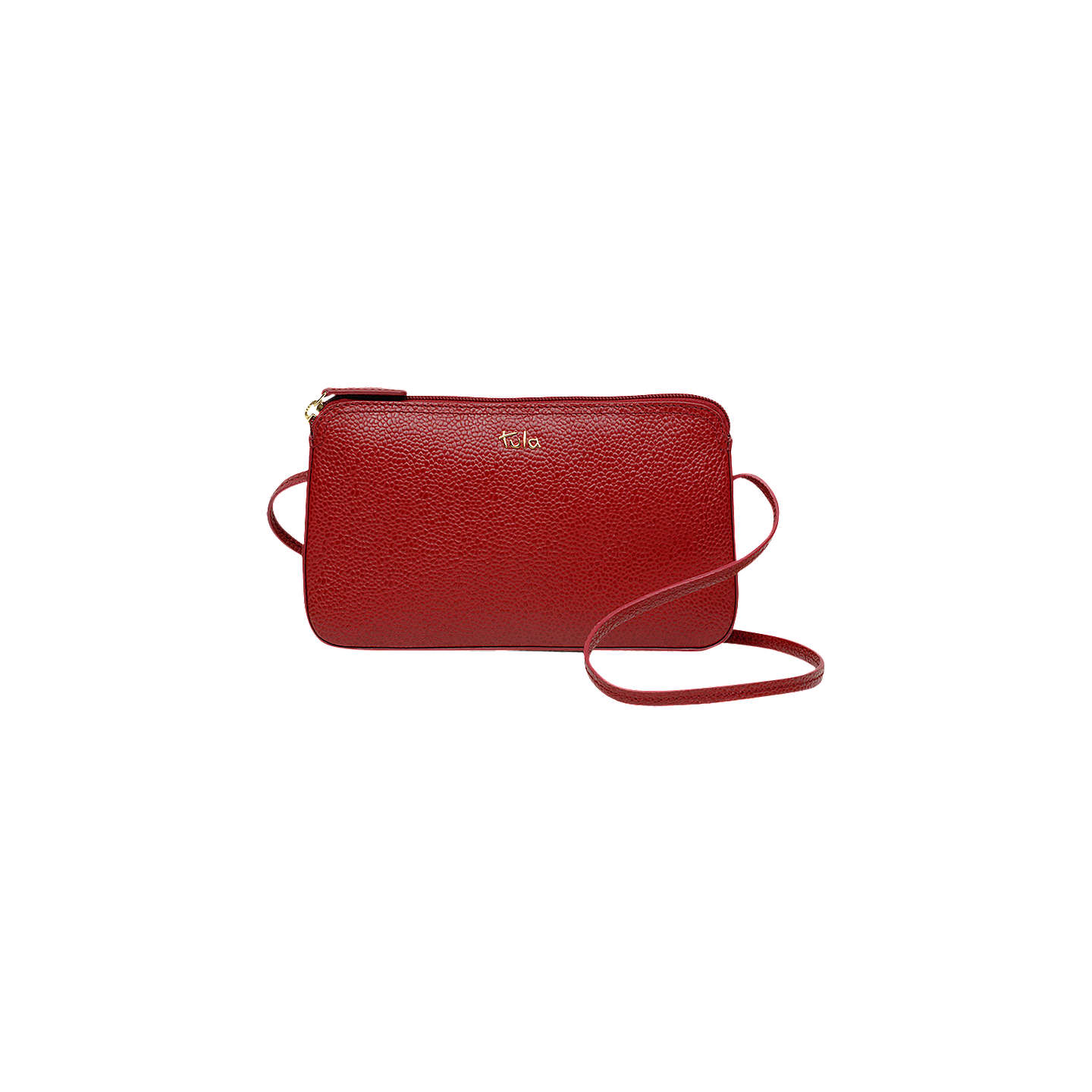 BuyTula Originals Pebbled Leather Cross Body Zip Bag, Scarlet Online at johnlewis.com