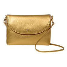 Buy Tula Party Small Leather Cross Body Flap Bag, Gold Online at johnlewis.com