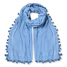 Buy East Silk Cotton Pom Pom Scarf, Cornflower Online at johnlewis.com