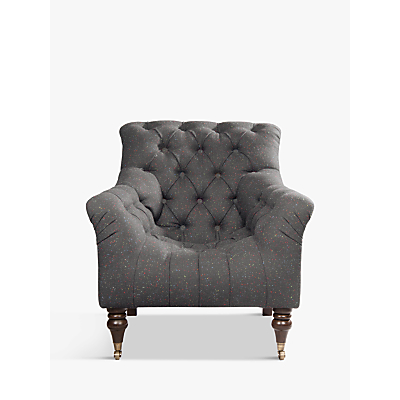 Tetrad Harris Tweed Skittle Button Detail Chair, Antique Brass Castors