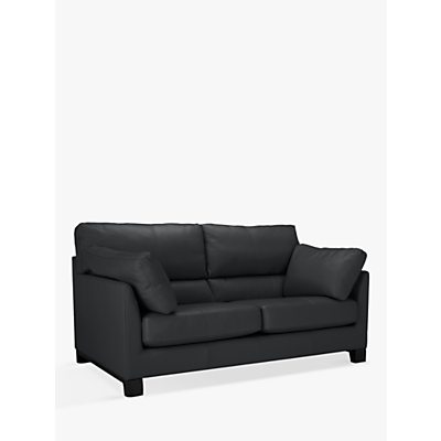 John Lewis Ikon High Back Leather Medium 2 Seater Sofa, Dark Leg, Winchester Anthracite Grey